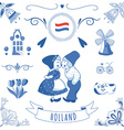 collection dutch ornaments deflt blue style vector image vector image