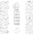 doodle icons seamless travel frame vector image