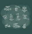 farmers market white badges vector image vector image