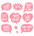 fight like a girl we can etc hand lettering vector image vector image