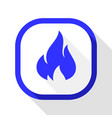 fire icon square button vector image vector image