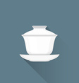 flat Chinese tea gaiwan icon vector image vector image