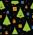 fun christmas trees with faces on black background vector image vector image