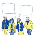 happy senior people walking and talk vector image vector image