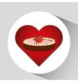 heart cartoon sweet pie strawberry and chocolate vector image