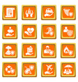 insurance icons set orange square vector image vector image