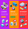 laundry banner vecrtical set 3d isometric view vector image vector image