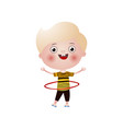 little smiling blond boy plays hula hoop isolated vector image
