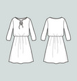 long sleeved dress front and back views vector image