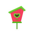 lovely wooden birdhouse with hole in shape of vector image vector image