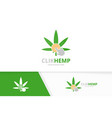 marijuana leaf and click logo combination vector image vector image