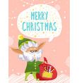 merry christmas elf greet people with holiday vector image vector image