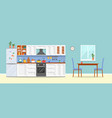 modern kitchen with furniture vector image vector image