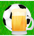 mug of beer and a soccer ball vector image vector image