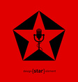 Music logo template - star with microphone design vector image vector image
