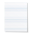 Notebook lined paper sheet isolated vector image vector image
