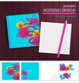 notepad design with snake and flowers vector image