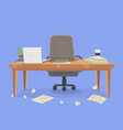 office working place and mess vector image vector image
