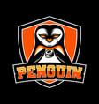 penguin hockey team mascot logo vector image vector image