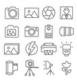 photo line icons set on white background vector image vector image