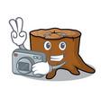 photographer tree stump mascot cartoon vector image vector image