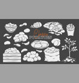 potato products glyph icons set white on black vector image vector image