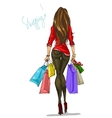 Pretty fashionable woman with shopping bags vector image vector image