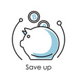 Save up isolated icon piggy bank and falling