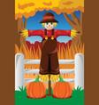 scarecrow in the fall season vector image