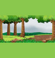 scene with raining in the park vector image vector image
