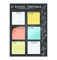 school timetable black vector image