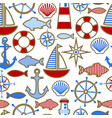 seamless pattern nautical design elements vector image vector image