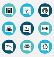 set of 9 editable active icons includes symbols vector image vector image