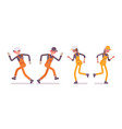 set of male and female worker running wearing vector image vector image