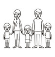 silhouette caricature family with young parents vector image