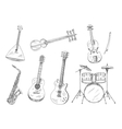 Sketchy musical instruments for arts design vector image vector image