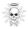 Skull with Crossed Keys and Crown vector image vector image