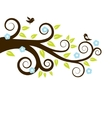 spring tree with birds vector image vector image