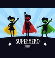 superhero party banner cute kids in superhero vector image