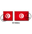 tunisia or tunisian flag pattern postage stamp vector image vector image