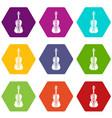 violine icons set 9 vector image vector image