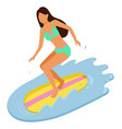young girl wearing swimming suit surfing vector image