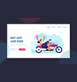 young loving couple riding motorbike website vector image vector image