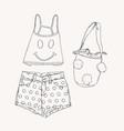 beach wear collection summet clothes sketch vector image