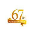 67 year ribbon anniversary vector image vector image