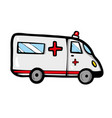 ambulance car on white background cute cartoon vector image vector image
