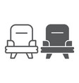armchair line and glyph icon furniture and home vector image vector image