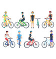 bicyclist riding on bike standing near bicyclet vector image vector image