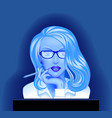 blonde business woman in glasses in front of the vector image vector image