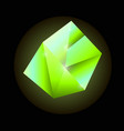 bright green luminous precious square crystal vector image